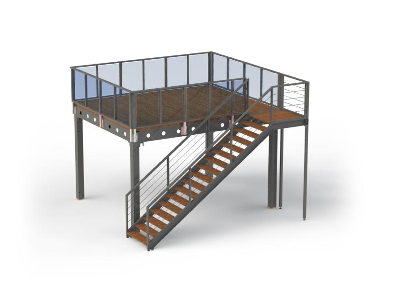 Escalier d acc s avec palier en aluminium rampes et garde for Escalier palier exterieur