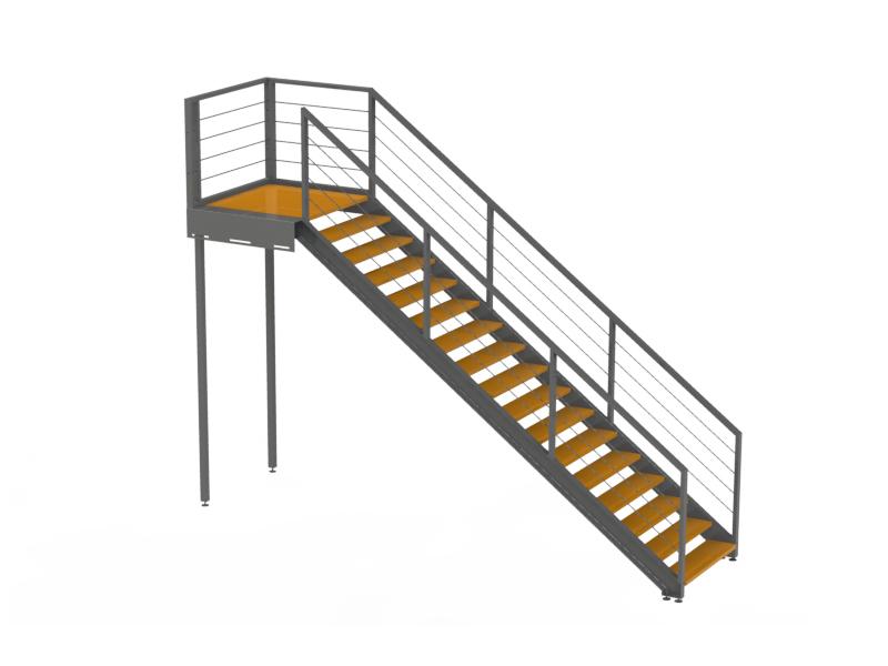 Escalier en bois avec trappe d acc s et premi re marche for Escalier palier exterieur